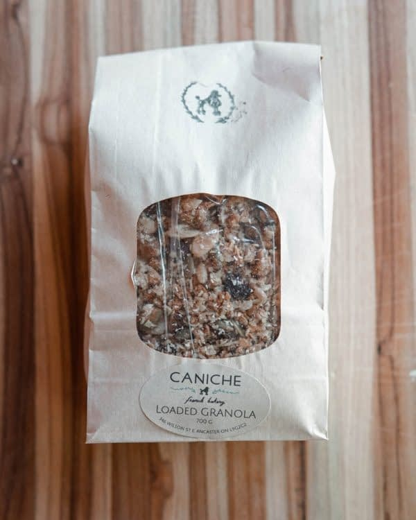 Bag of Granola on table at Caniche Bakery in Ancaster Ontario